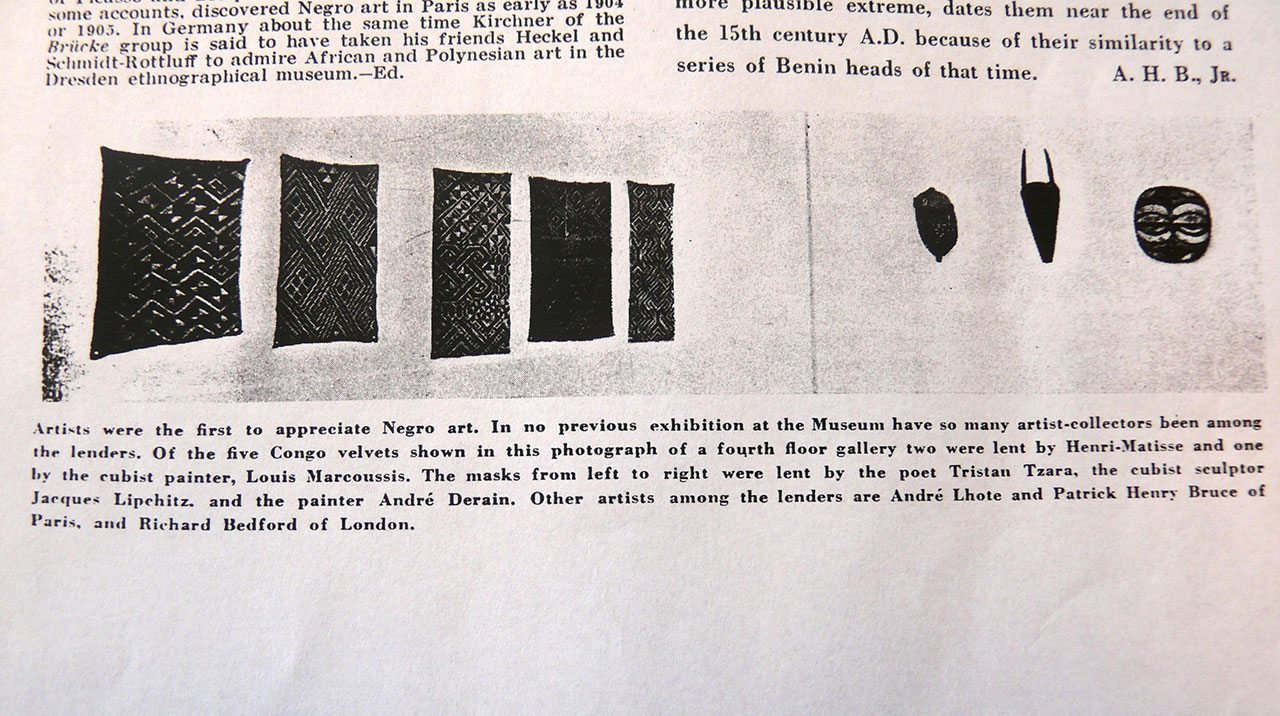 Fig 4. Detail of page 3 of the Bulletin of The Museum of Modern Art, March-April 1935 including the installation view of exhibition African Negro Art 1935.