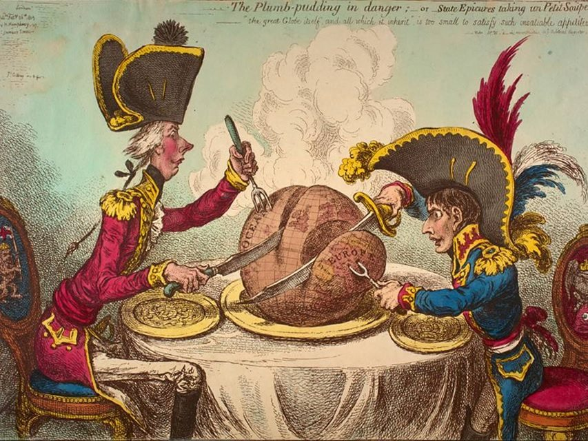 Fig. 6. James Gillray, The Plumb Pudding in Danger; -- or-- State Epicures taking un Petit Souper, 1805.
