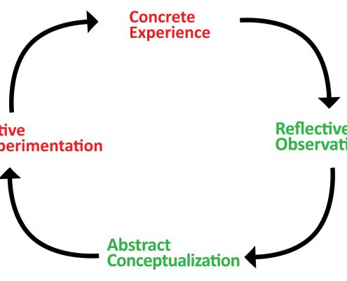 Fig 2. Kolb's experiential learning cycle applied to immersive (red) and discursive (green) exhibition designs.