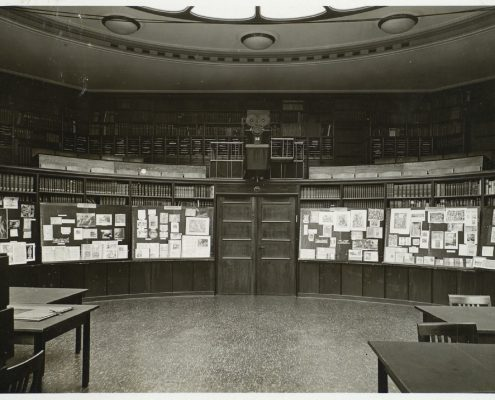 Fig 1. Aby Warburg, Ovid Exhibition in the Reading Room of the Kunstwissenshaftliche Bibliothek Warburg, Hamburg, 1927.
