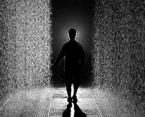Random International, Rain Room, the Barbican, London, 2012.