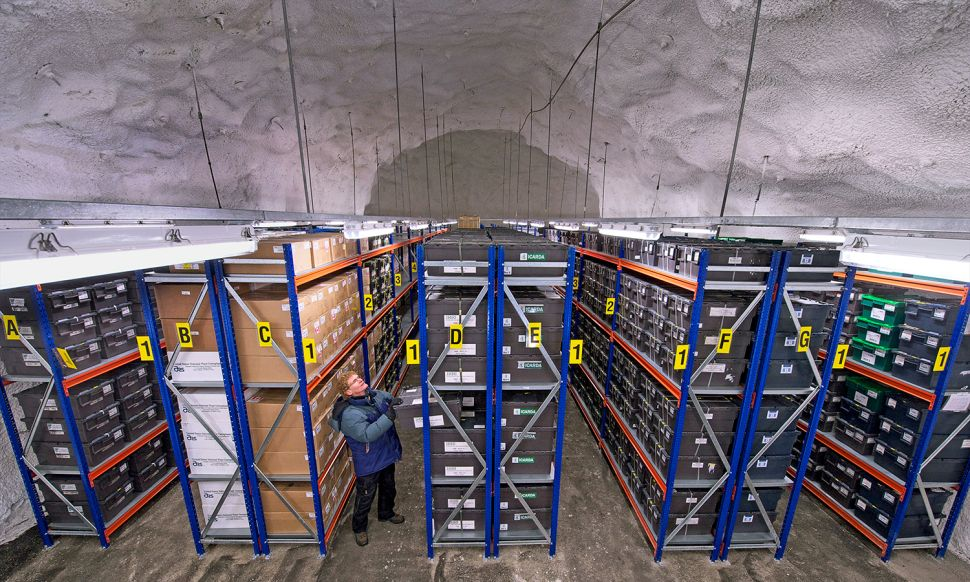 Fig. 2. The Svalbard Global Seed Vault's main storage room, which can house 2.25 billion seeds. Image credit: National Geographic Creative/Alamy.