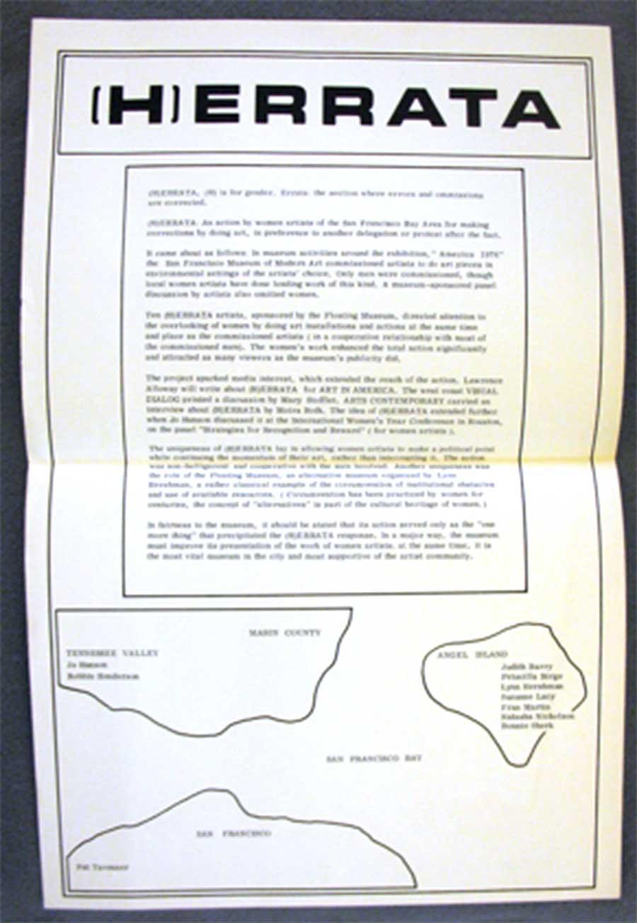 Figure 2. Lynn Hershman Leeson, Jo Hanson, and Pat Tavernier, (H)errata, 1977, The Floating Museum. Courtesy of Lynn Hershman Leeson.