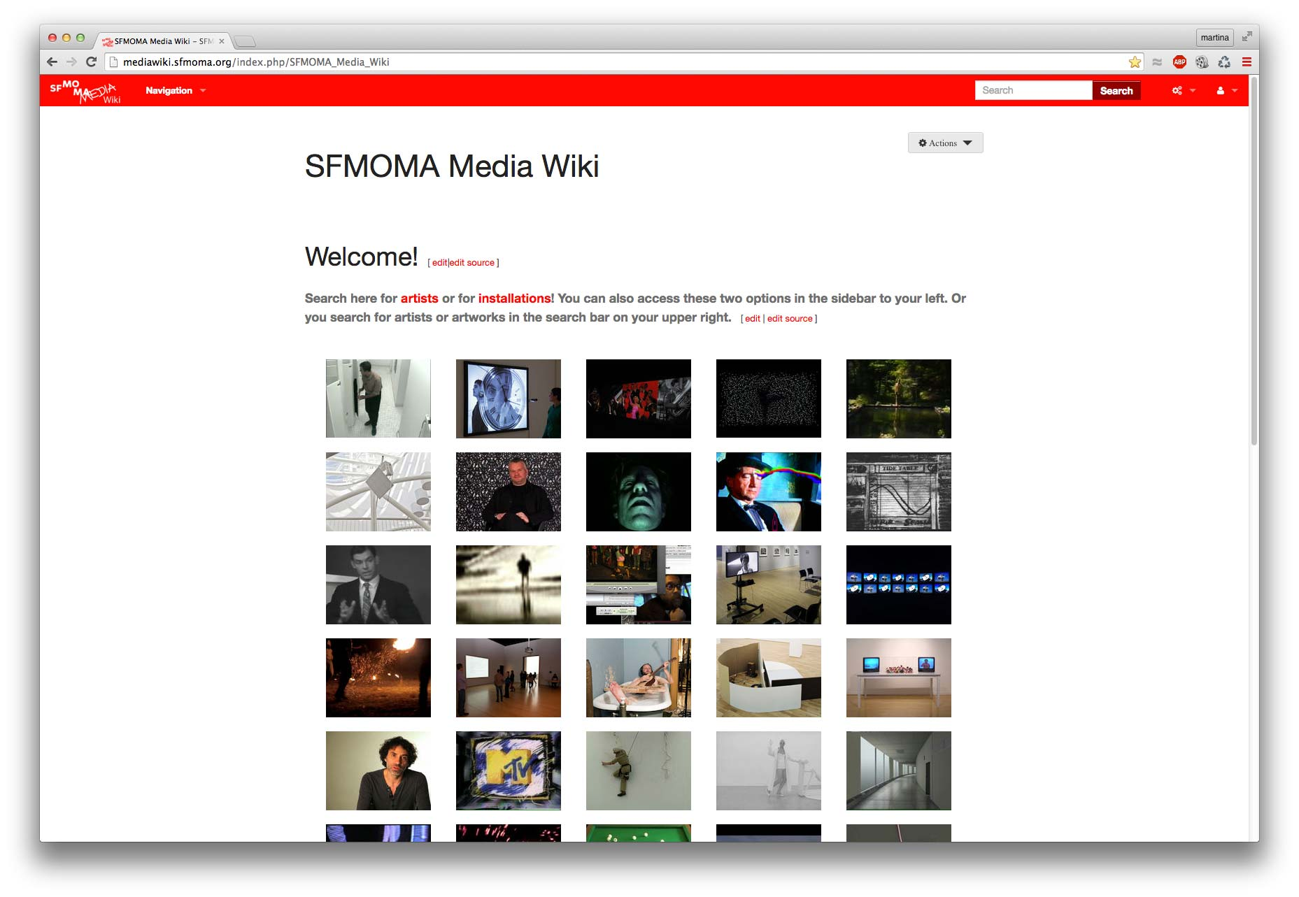 Figure 4. Homepage of SFMOMA's MediaWiki after its design overhaul in 2016.