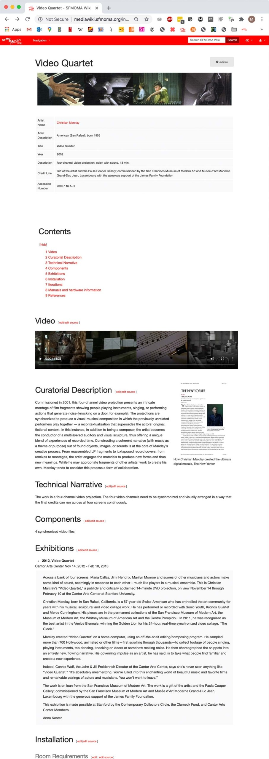 Figure 5. View of the Video Quartet artwork page on SFMOMA's MediaWiki documentation platform.