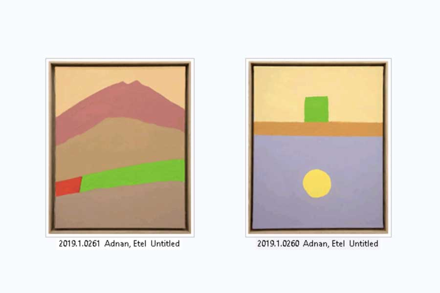 Capture from Ad-lib of two untilded pieces from Etel Adnan.