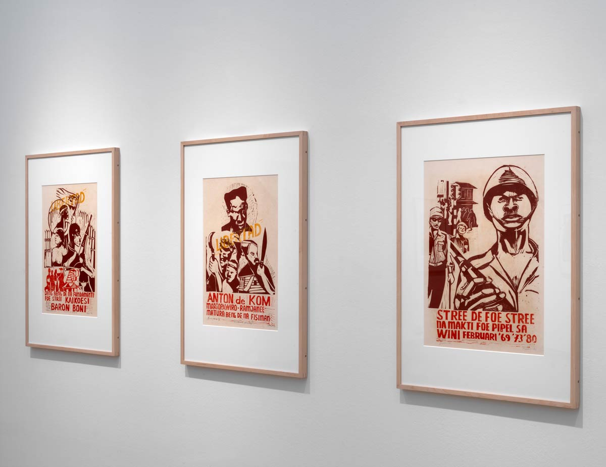 René Tosari, Untitled (400 Years of Resistance and Struggle Suriname), 1981, lino cuts, 56 x 40 cm (each), on loan from René Tosari, Paramaribo