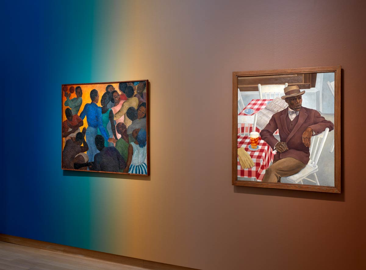 Installation view exhibition Surinamese School. Painting from Paramaribo to Amsterdam, Stedelijk Museum Amsterdam, 2020-2021. Nola Hatterman, West-Indian Dance Party, 1948 or earlier, oil on canvas, 98 x 118 cm, private loaner; Louis Richard Drenthe / On the Terrace, 1930, oil on canvas, 100 90 cm, Stedelijk Museum Amsterdam